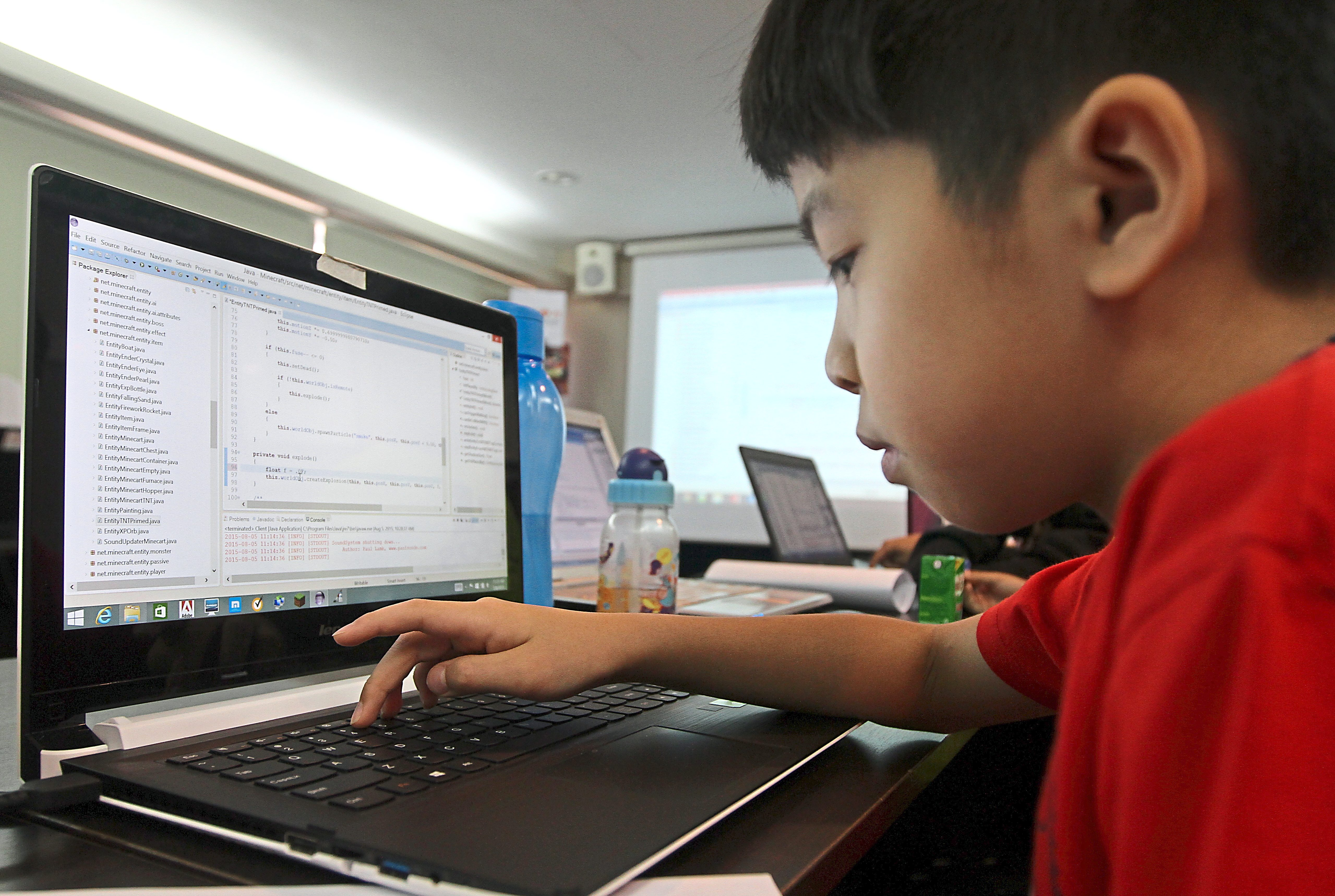 Calvin Kuo, 9, getting an intro to Java at the Creative Tech Camp.