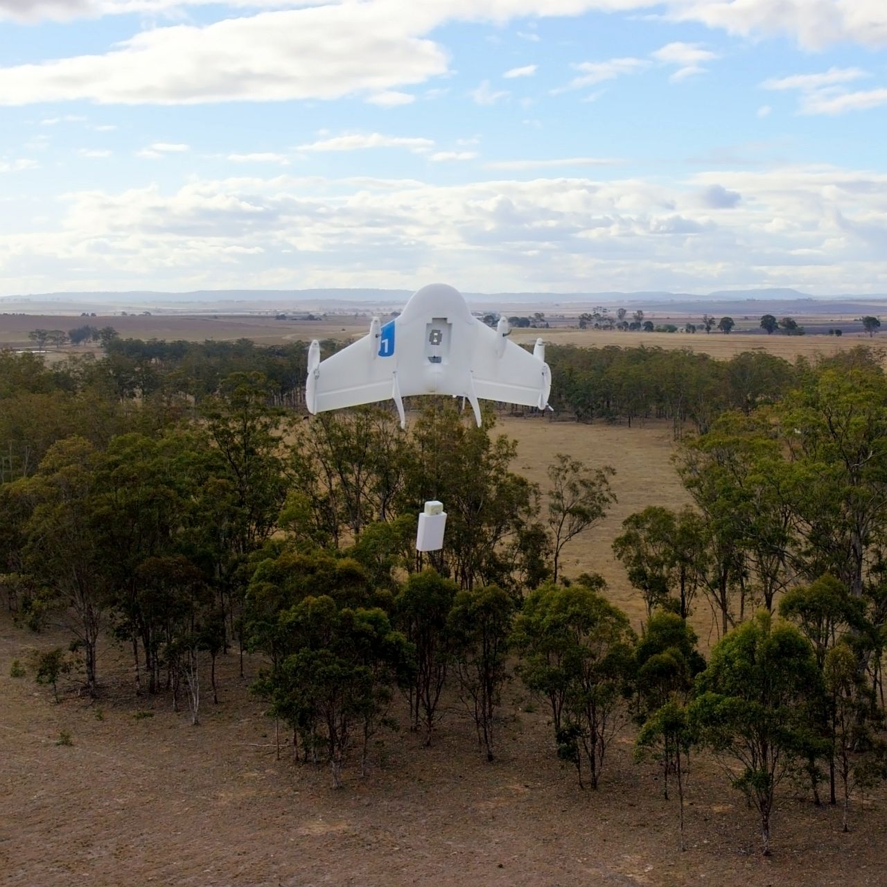 This undated image provided by Google shows a Project Wing drone vehicle during delivery. Google's secretive research laboratory is trying to build a fleet of drones designed to bypass earthbound traffic so packages can be delivered to people more quickly. The ambitious program announced Thursday, Aug. 28, 2014, escalates Google's technological arms race with rival Amazon.com Inc., which also is experimenting with self-flying vehicles to carry merchandise bought by customers of its online store. (AP Photo/Google)