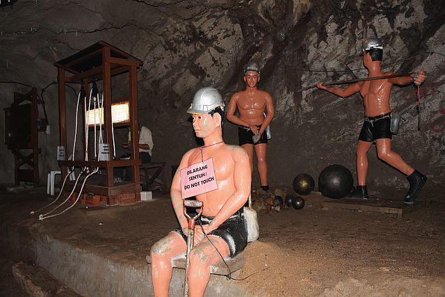 Some of the statues of miners and equipment for the on display at the Sungei Lembing Tin Mines.