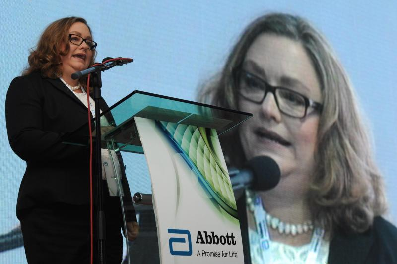 Abbott Medical Optics\' global operations divisional vice president, Diane Beno, delivering her speech during the ground-breaking ceremony of Abbott Medical Optics manufacturing facility in Kulim, Kedah.