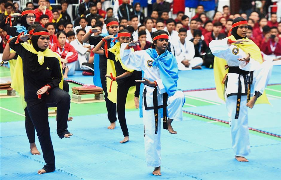 Participants going through a routine during the launching ceremony.