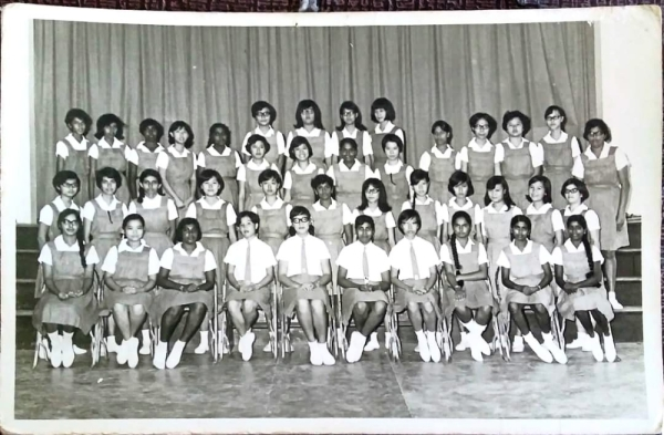 A class photo of the students of Form 5A, class of 1968, Convent of the Holy Infant Jesus Seremban.