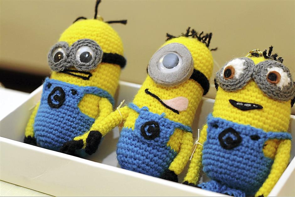 Knitted versions of the popular Minions characters sold at Minus One Zakka Store in Taman Melodies, Johor Baru.