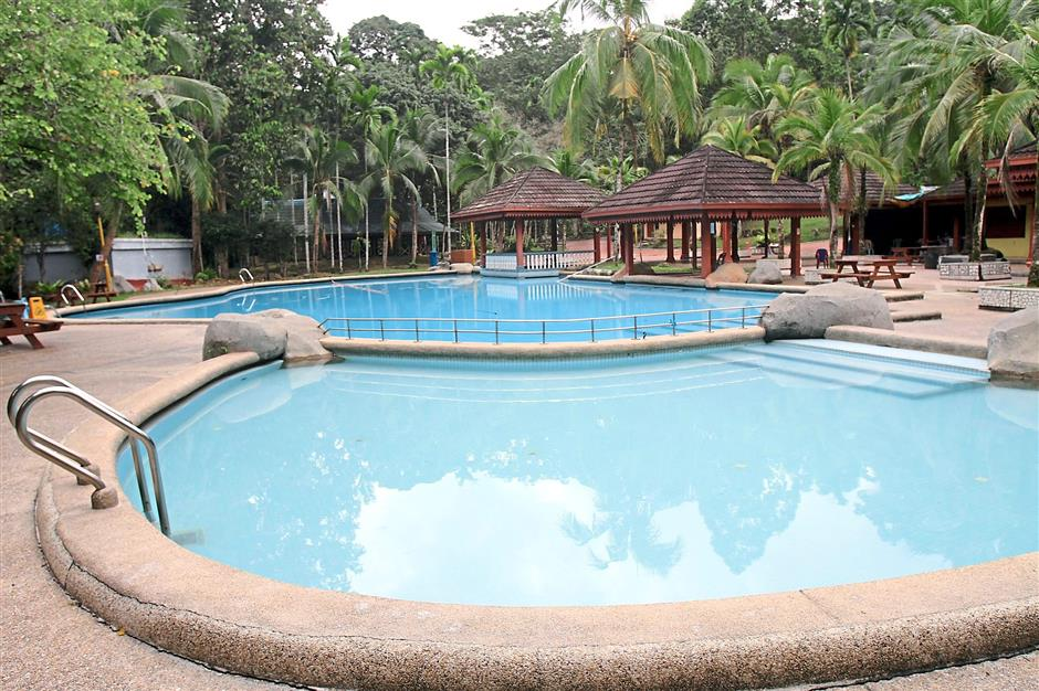 The swimming pool offers an additional leisure activity for visitors.