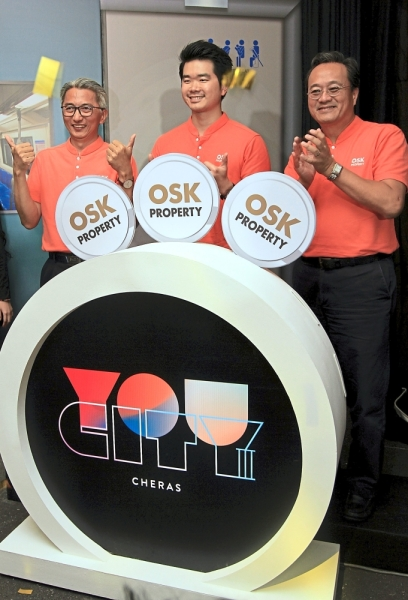 (Below, from left) Ong, OSK Property deputy group managing director Ong Ju Xing and OSK Property chief operating officer Seth Lim at the launch of You City III.