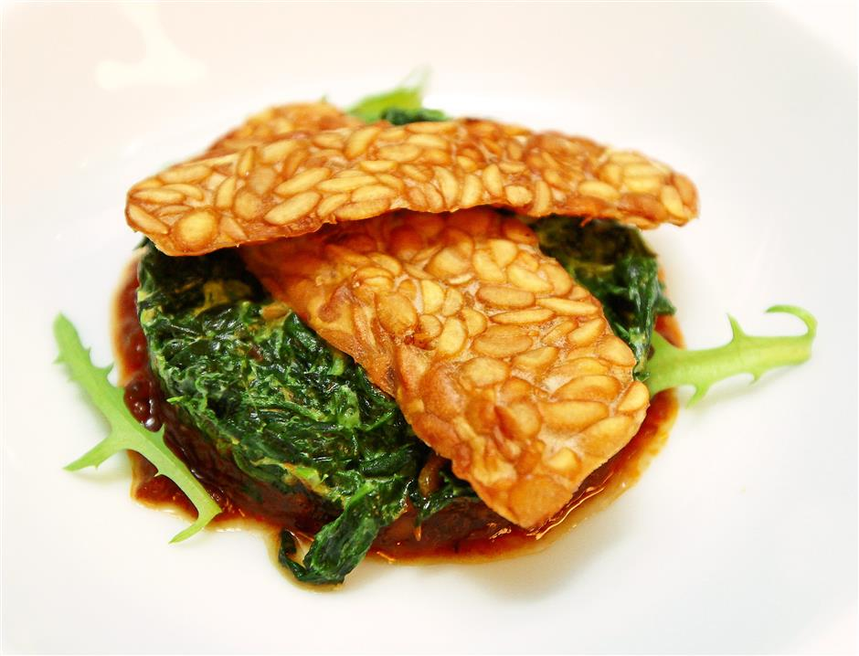 Best of both worlds: The Spinach Sambal with Crispy Tempeh is a dish of contrasting flavours and textures.