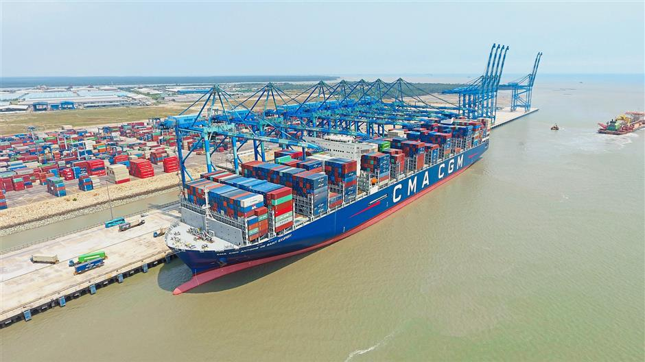World's biggest container ship stops over at Port Klang