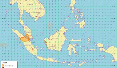 A regional haze map on June 26 shows moderate haze with hotspots detected in northern and southern Sumatra and parts of Kalimantan