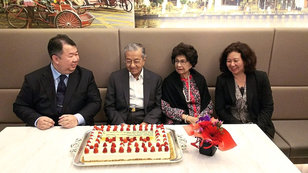 (From left) Tam, Dr Mahathir, Dr Siti Hasmah and Ang at Rasa Malaysia Cuisine Ginza in Tokyo.
