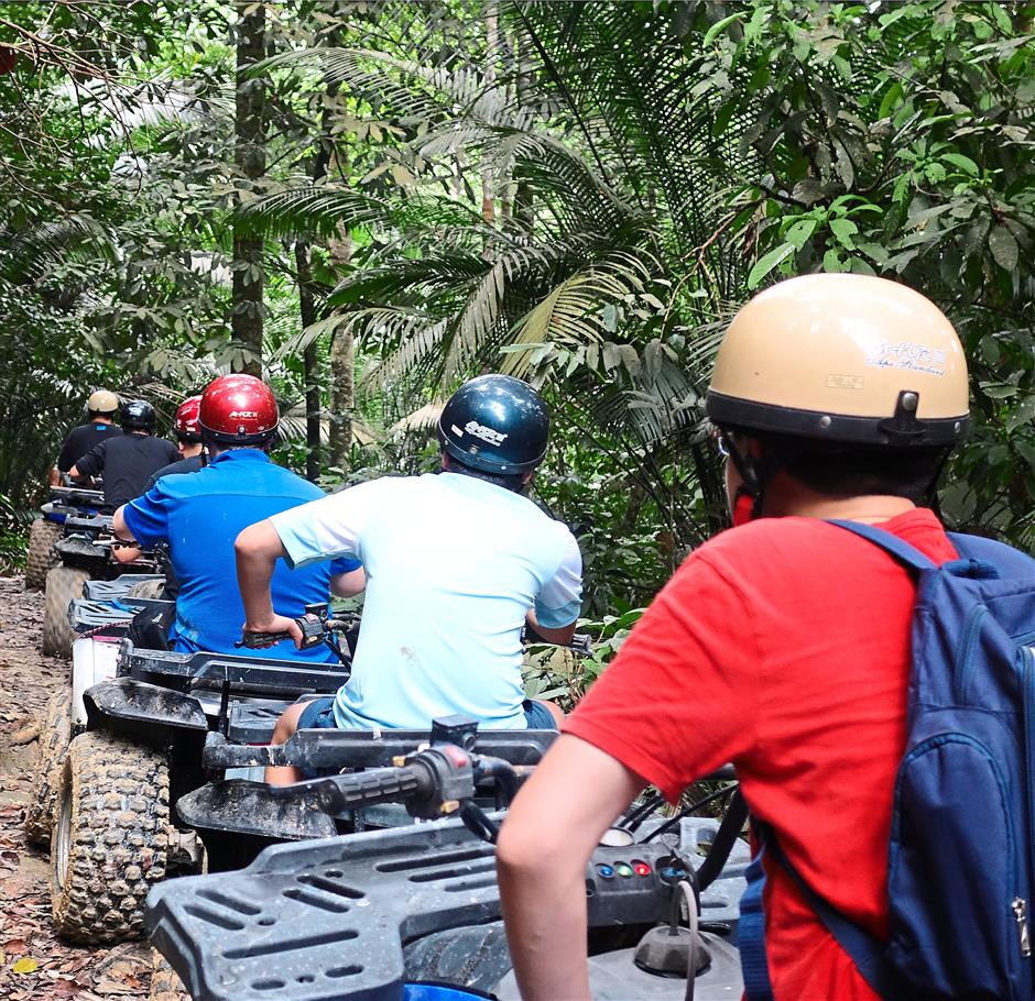A different group: The ATV enthusiasts waiting for us to clear the path.