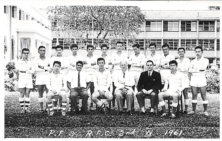 Penang Free School 2nd 15 Rugby Team 1961; Brian Baird is in the front row, second from right.
