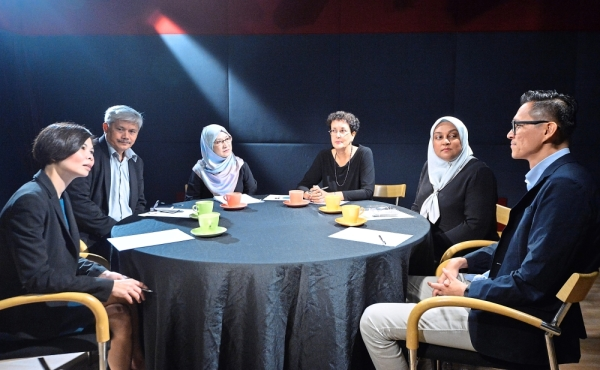 Professional opinions: (from left) Yasmin, Prof Ahmad, Sharifah Alauyah, Santha, Shahira and Chun sharing their thoughts during the discussion.