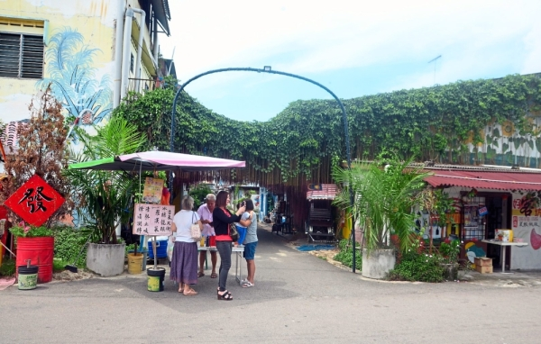 The back lane at Kelapa Sawit New Village has been made vibrant with the painting of murals.
