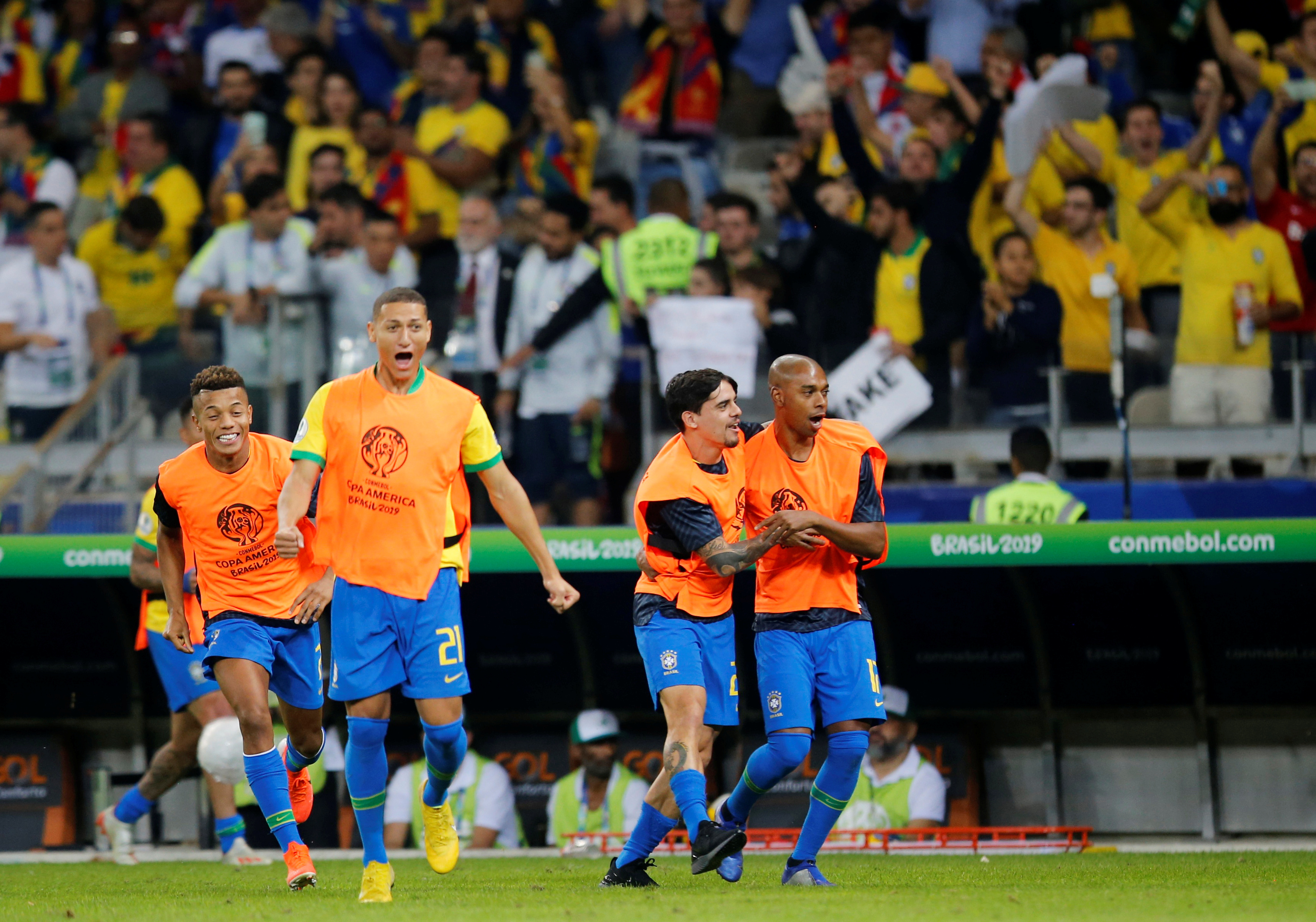 new authentic cheap reasonable price Football: Brazil beat Argentina 2-0 to reach Copa America ...