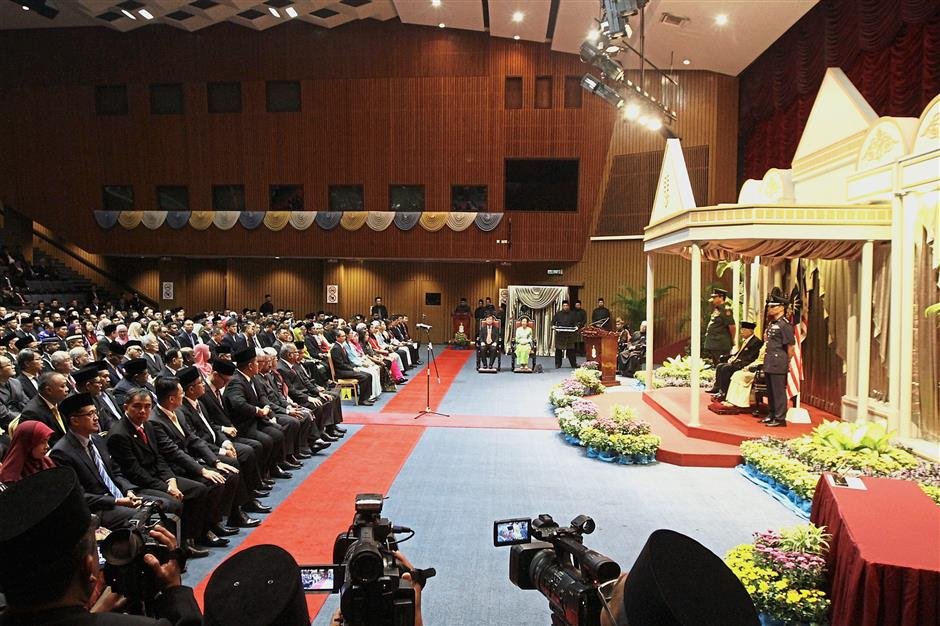 State exco members seated in the front row waiting to be sworn in at Dewan Sri Pinang.