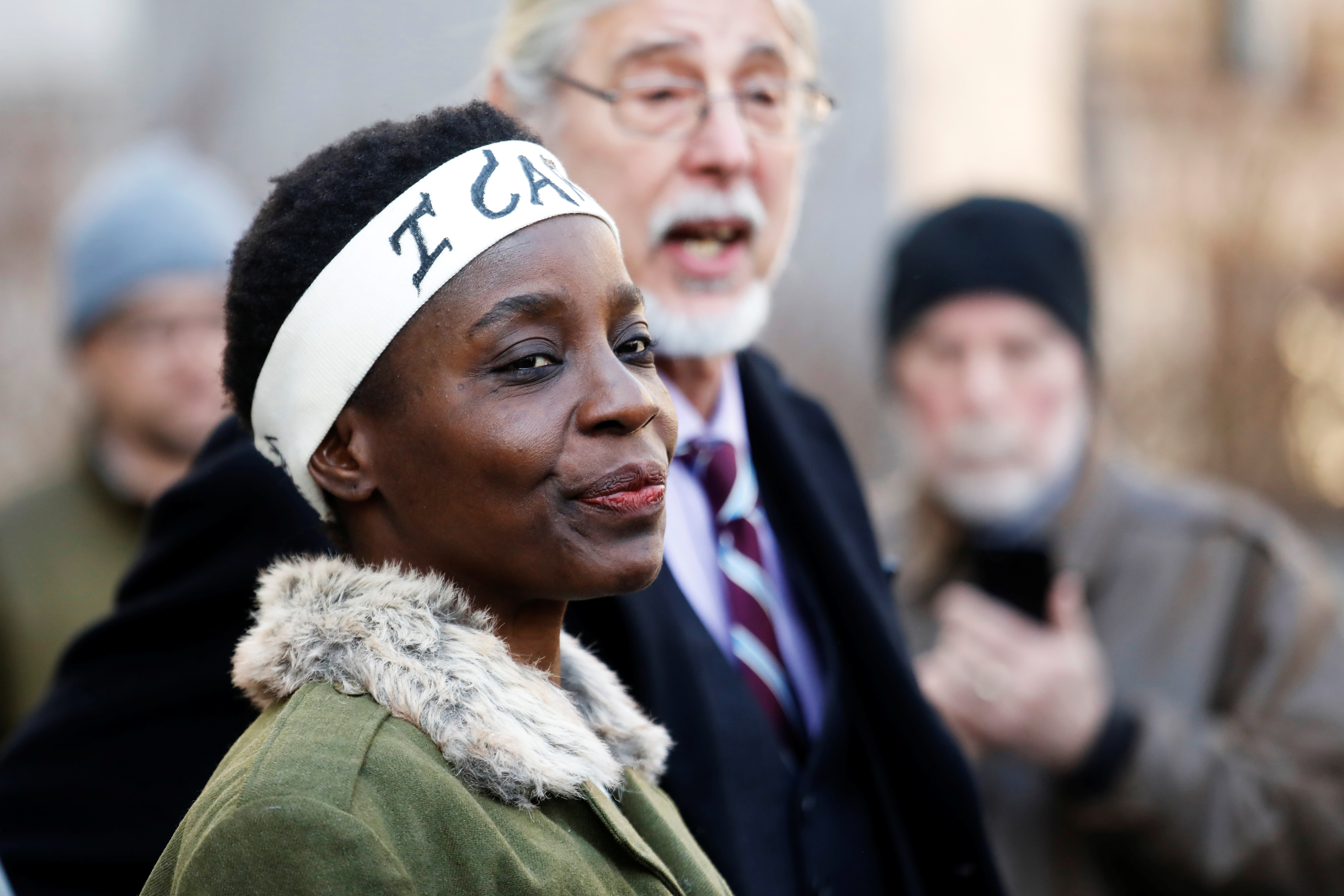 Therese Patricia Okoumou speaks to the media after her sentencing for conviction on attempted scaling of the Statue of Liberty to protest the U.S. immigration policy, outside a federal court in New York, U.S., March 19, 2019. REUTERS/Shannon Stapleton