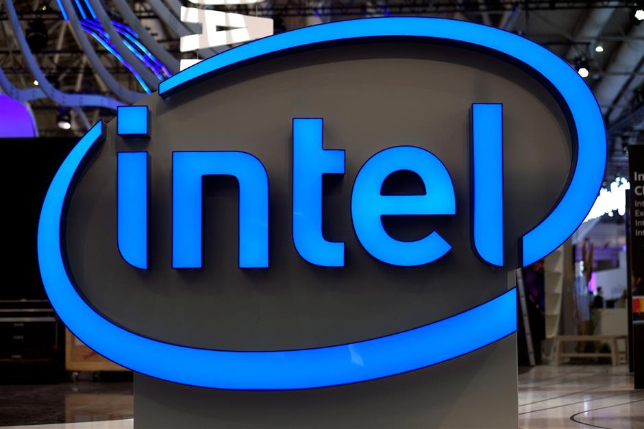 FILE PHOTO: Intel\'s logo is pictured during preparations at the CeBit computer fair, which will open its doors to the public on March 20, at the fairground in Hanover, Germany, March 19, 2017. REUTERS/Fabian Bimmer/File Photo