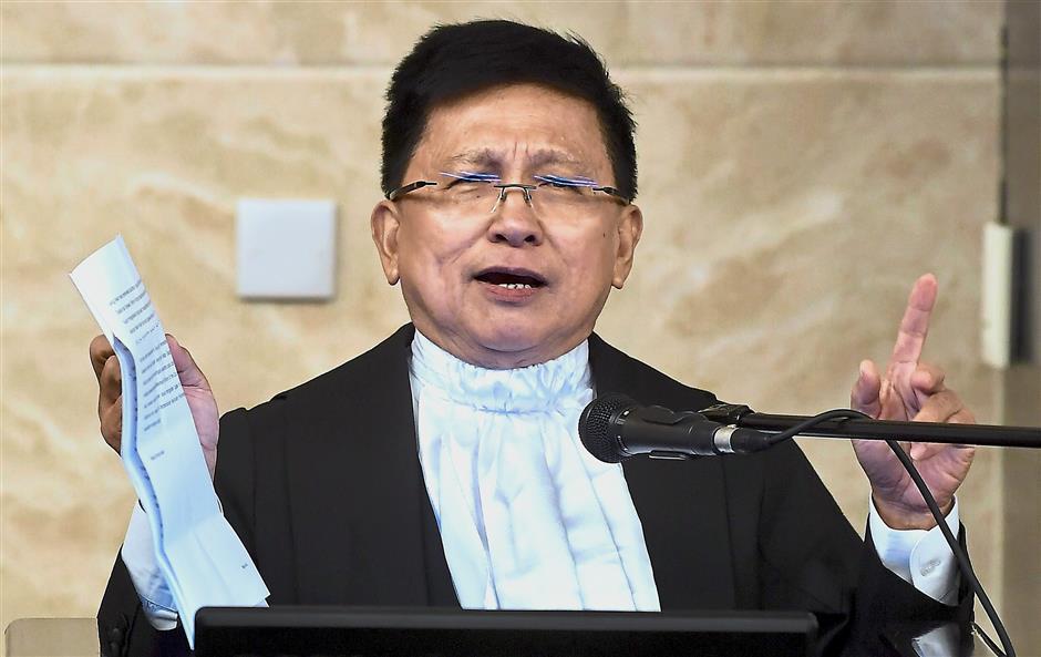 PUTRAJAYA, 12 Julai -- Ketua Hakim Negara Tan Sri Richard Malanjum berucap pada majlis Angkat Sumpah Presiden Mahkamah Rayuan dan Hakim Besar Sabah dan Sarawak di Istana Kehakiman hari ini.--fotoBERNAMA (2018) HAK CIPTA TERPELIHARA