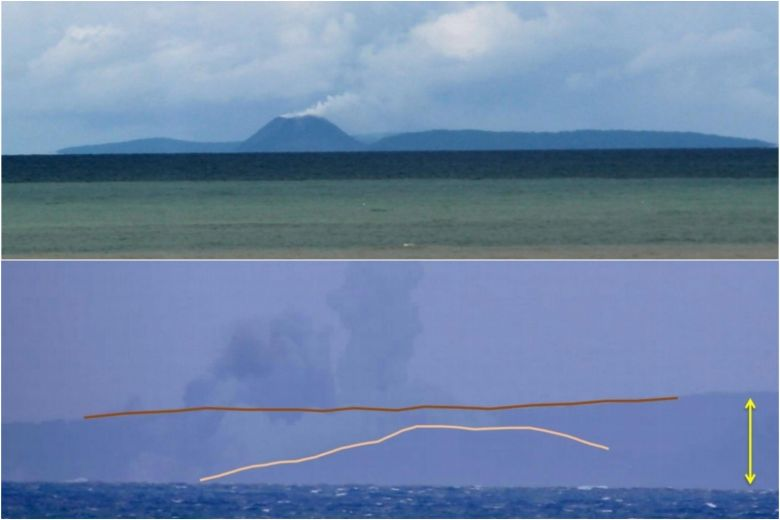 before and after pictures of anak krakatau volcano show impact of