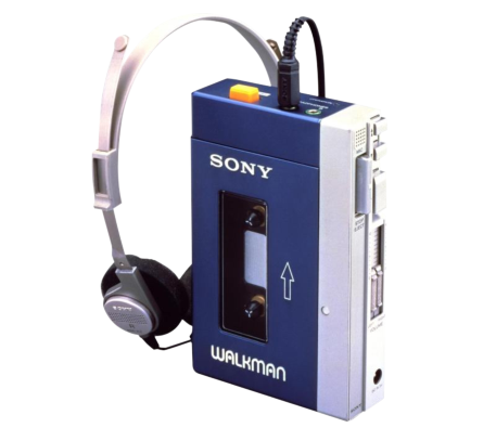 Released in 1979, the original Walkman cassette enables people to listen to the music while moving.