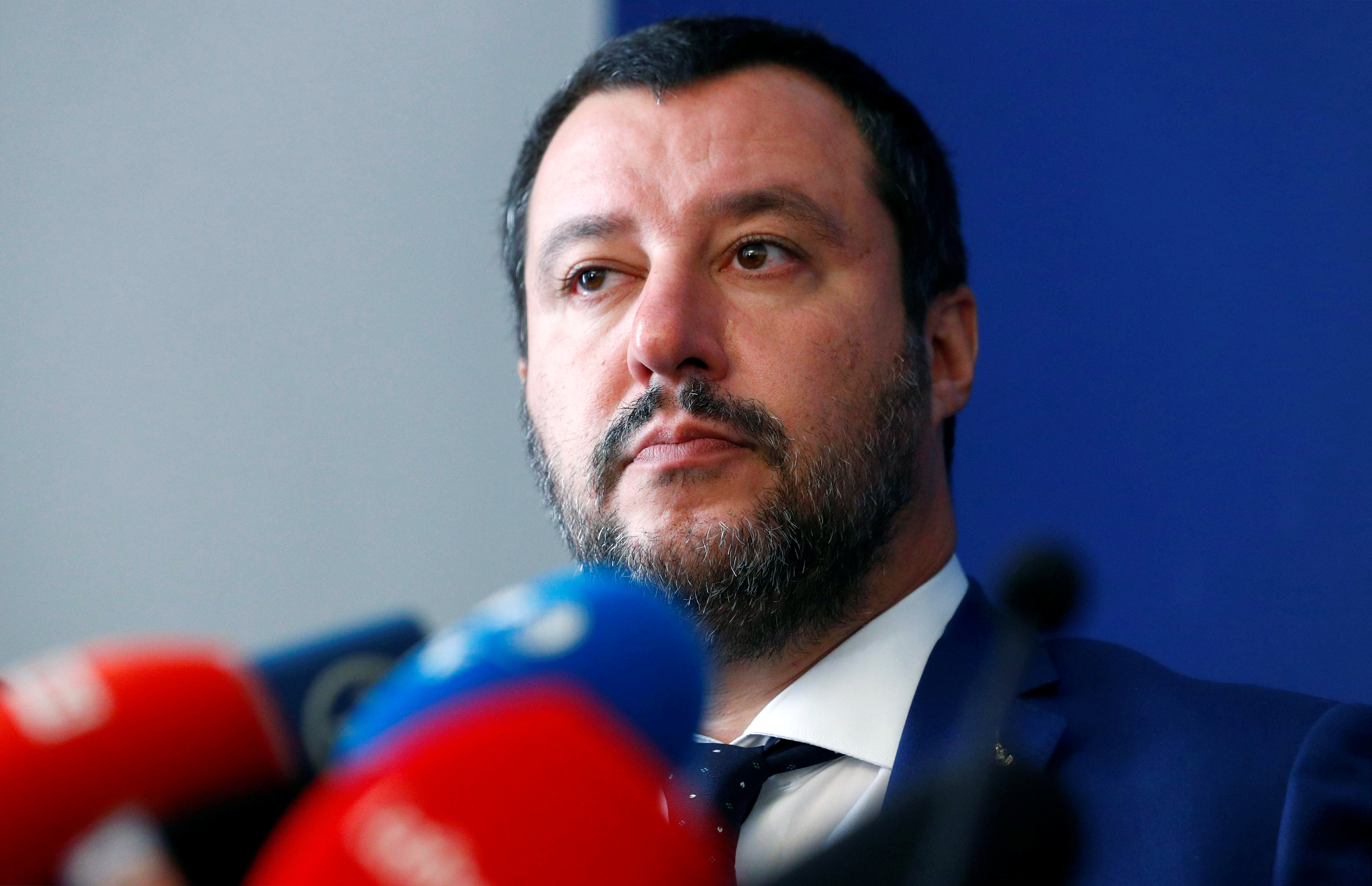 FILE PHOTO: Italy's far right leader and Interior Minister Matteo Salvini attends a a news conference with French far right leader Marine Le Pen in Rome, Italy October 8, 2018. REUTERS/Max Rossi/File Photo