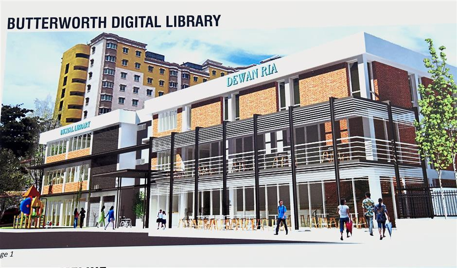 A drawing showing the digital library's facade.