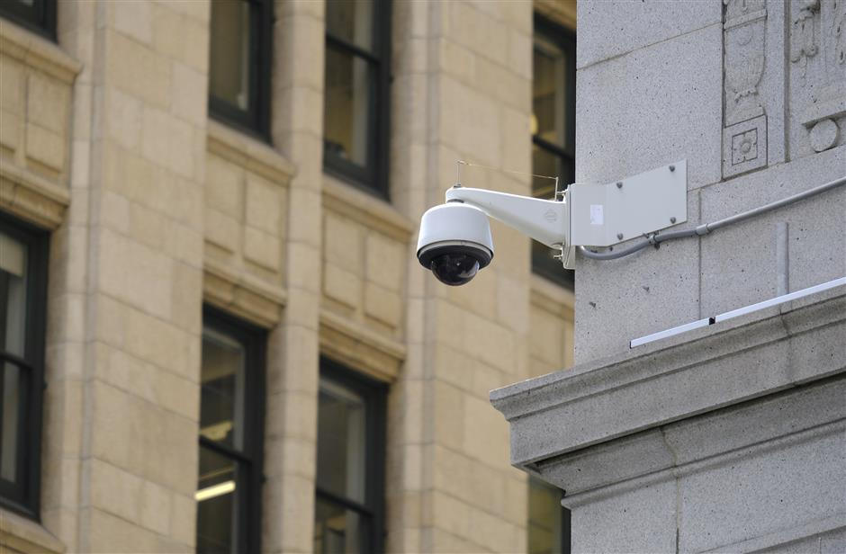 In this photo taken Tuesday, May 7, 2019, is a security camera in the Financial District of San Francisco. San Francisco is on track to become the first U.S. city to ban the use of facial recognition by police and other city agencies as the technology creeps increasingly into daily life. (AP Photo/Eric Risberg)