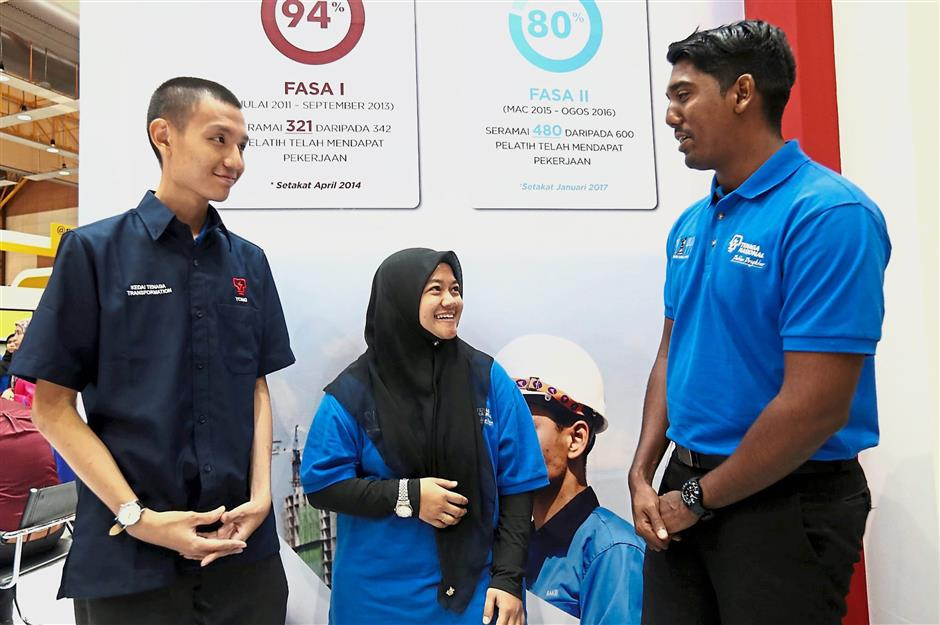(From left) SL1M-IBE trainees Ng, Nurul and Tamil reflected on their training journey at TNB so far.