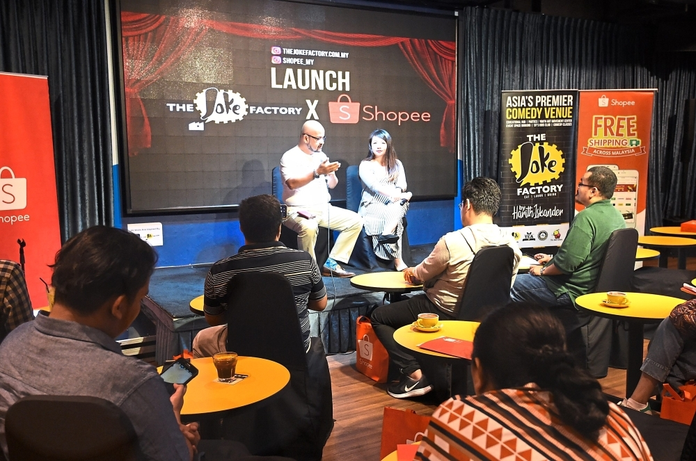Harith and Tan fielding questions at the launch of The Joke Factory on Shopee.