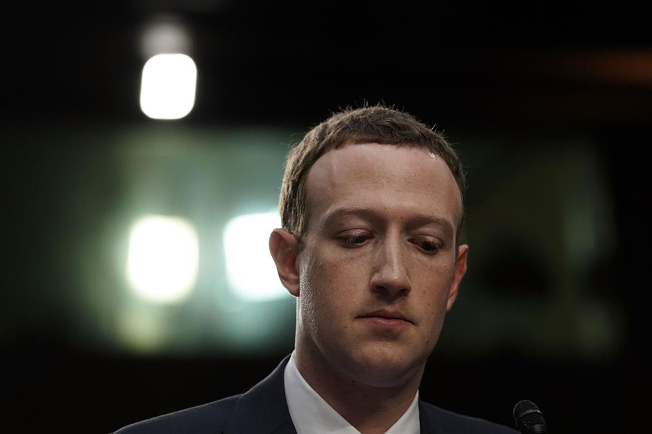 WASHINGTON, DC - APRIL 10: Facebook co-founder, Chairman and CEO Mark Zuckerberg testifies before a combined Senate Judiciary and Commerce committee hearing in the Hart Senate Office Building on Capitol Hill April 10, 2018 in Washington, DC. Zuckerberg, 33, was called to testify after it was reported that 87 million Facebook users had their personal information harvested by Cambridge Analytica, a British political consulting firm linked to the Trump campaign.   Alex Wong/Getty Images/AFP == FOR NEWSPAPERS, INTERNET, TELCOS & TELEVISION USE ONLY ==