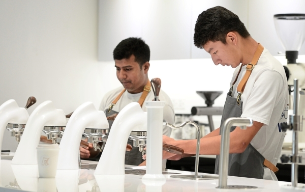 Open view: The store's open concept allows customers to see how their drinks are made.