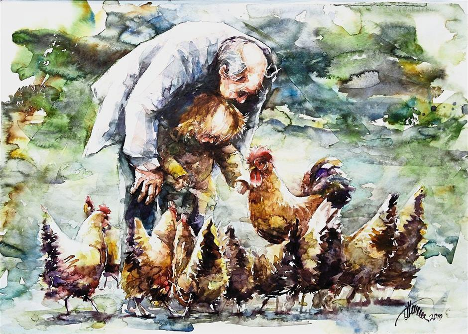 'Grandpa And Child Feeding Hens' by Atanur Dogan from Canada.