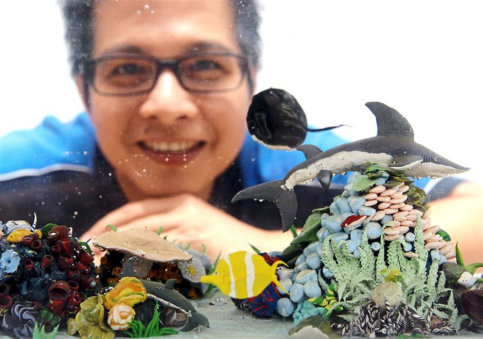 Chai says people usually like his underwater creations made with rubber clay.
