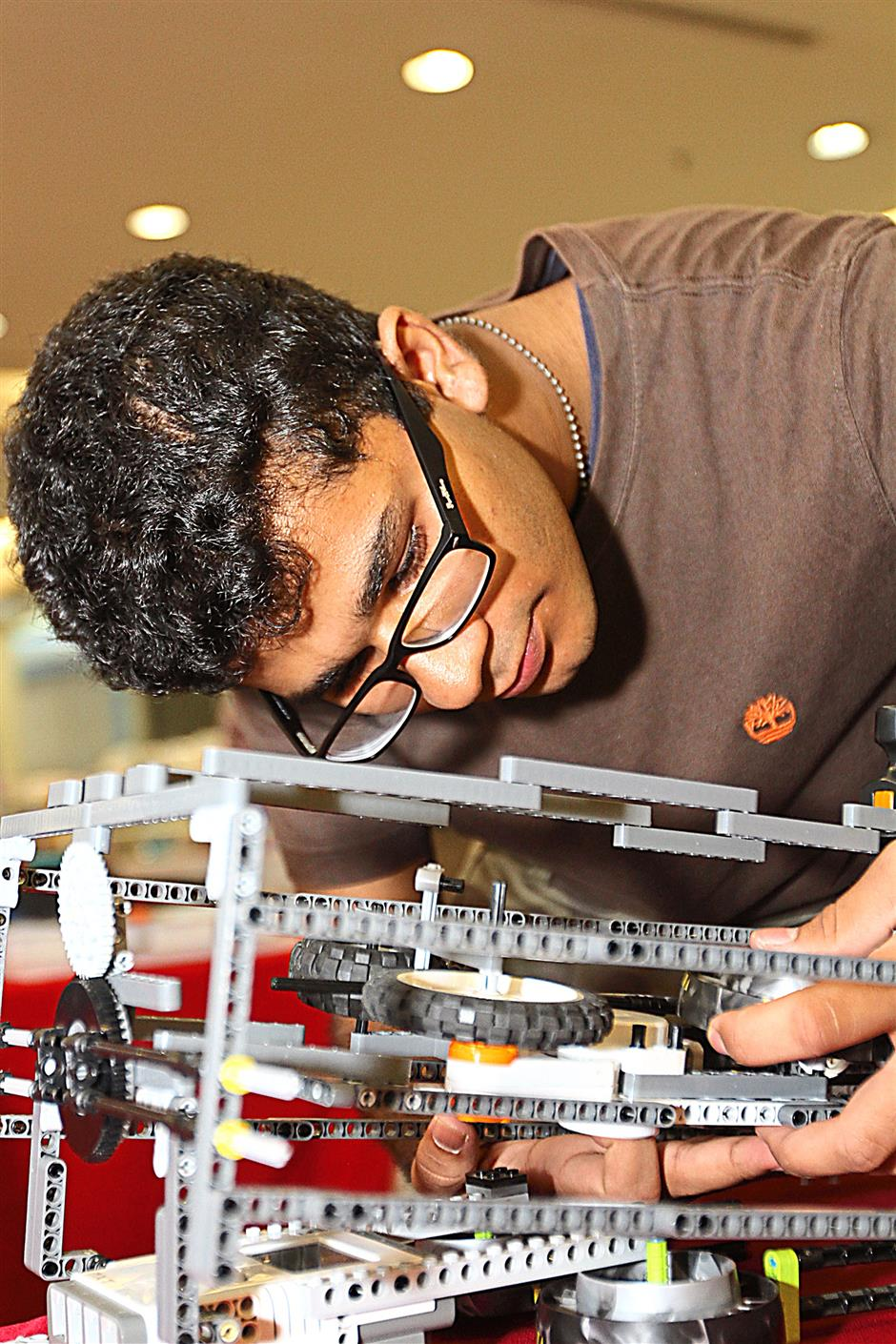 Dhruv Soni, 17, Subang Jaya with his Lego Mindstorm invention named