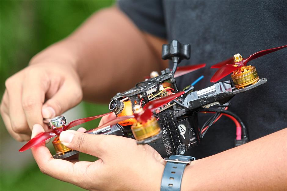 A racing drone can cost about RM1,000 to RM5,000 to build – and that includes a good, reliable pair of goggles. — AZMAN GHANI/The Star
