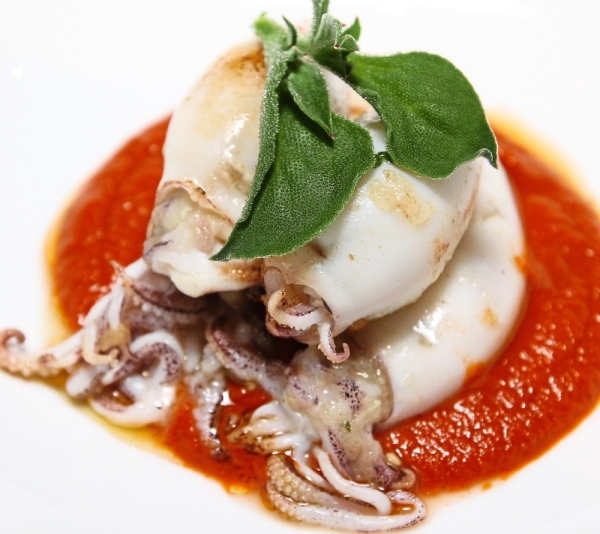 Mini Squid Stuffed with Burnt Eggplant and a Spicy Cumin Tomato Sauce.