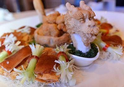 Auspicious dish:Fortune Dragon andTreasureCombination.