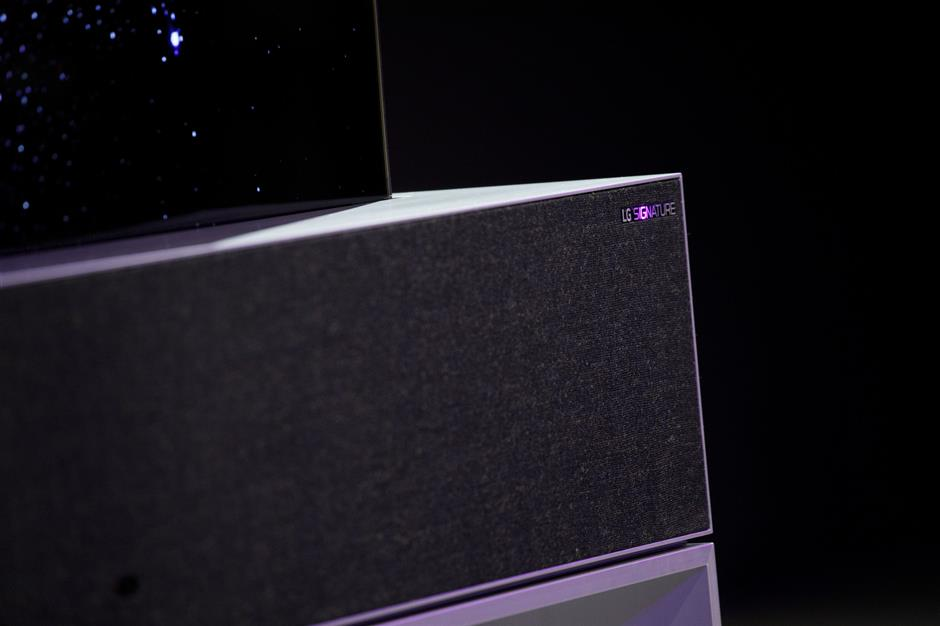 The LG Electronics Signature OLED TV R is unveiled during the company\'s press conference at the 2019 Consumer Electronics Show (CES) in Las Vegas, Nevada, U.S., on Monday, Jan. 7, 2019. LG said its latest sets will also support AirPlay, creating a larger base of products where users will be able to stream Apple content. Photographer: Patrick T. Fallon/Bloomberg