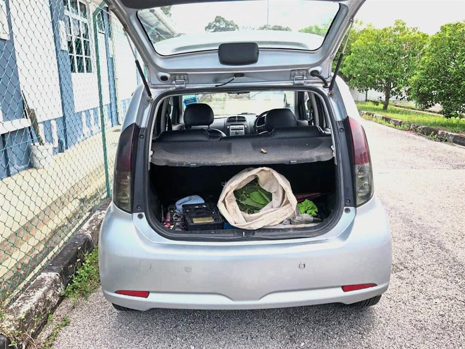 The car with the sack of ketum leaves in the boot.