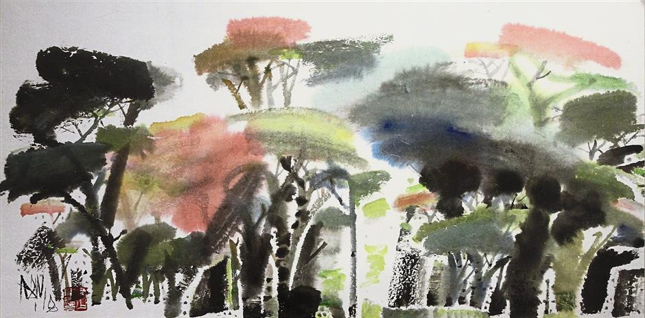 'Rich Forest' ( a ink and colour on paper