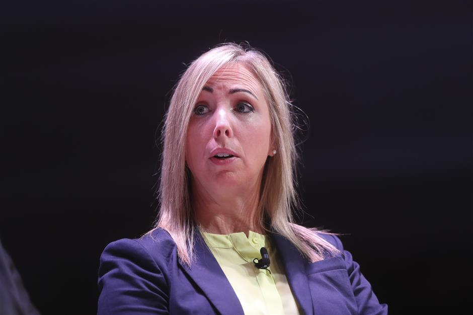 Helen Dixon, data protection commissioner at the Irish Data Protection Commission, speaks at the Sooner Than You Think London tech conference in London, U.K., on Wednesday, June 12, 2019. The two-day event features tech executives from PayPal, Slack, Mozilla, Uber, Google and others as well as officials such asu00a0Irelandu2019s privacy watchdog. Photographer: Simon Dawson/Bloomberg