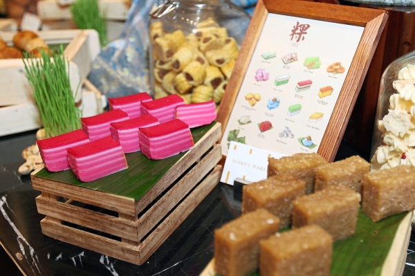 A wide variety of local kuih at the buffet.