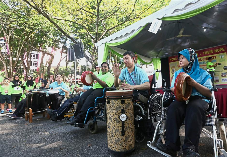 A group of disabled folk entertaining the crowd at the event.