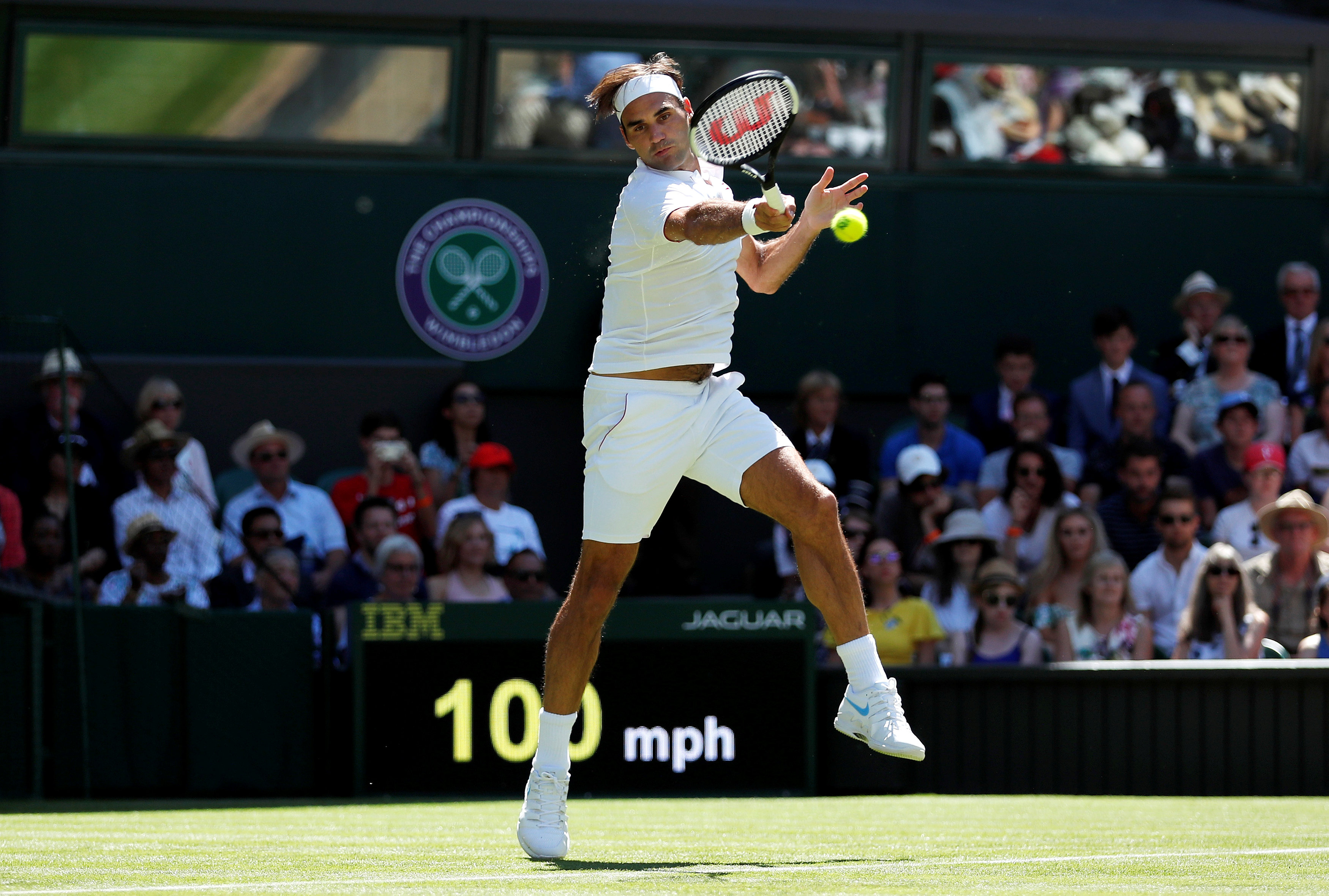 Tennis - Wimbledon - All England Lawn Tennis and Croquet Club, London, Britain - July 2, 2018 Switzerland's Roger Federer in action during the first round match against Serbia's Dusan Lajovic. REUTERS/Andrew Boyers