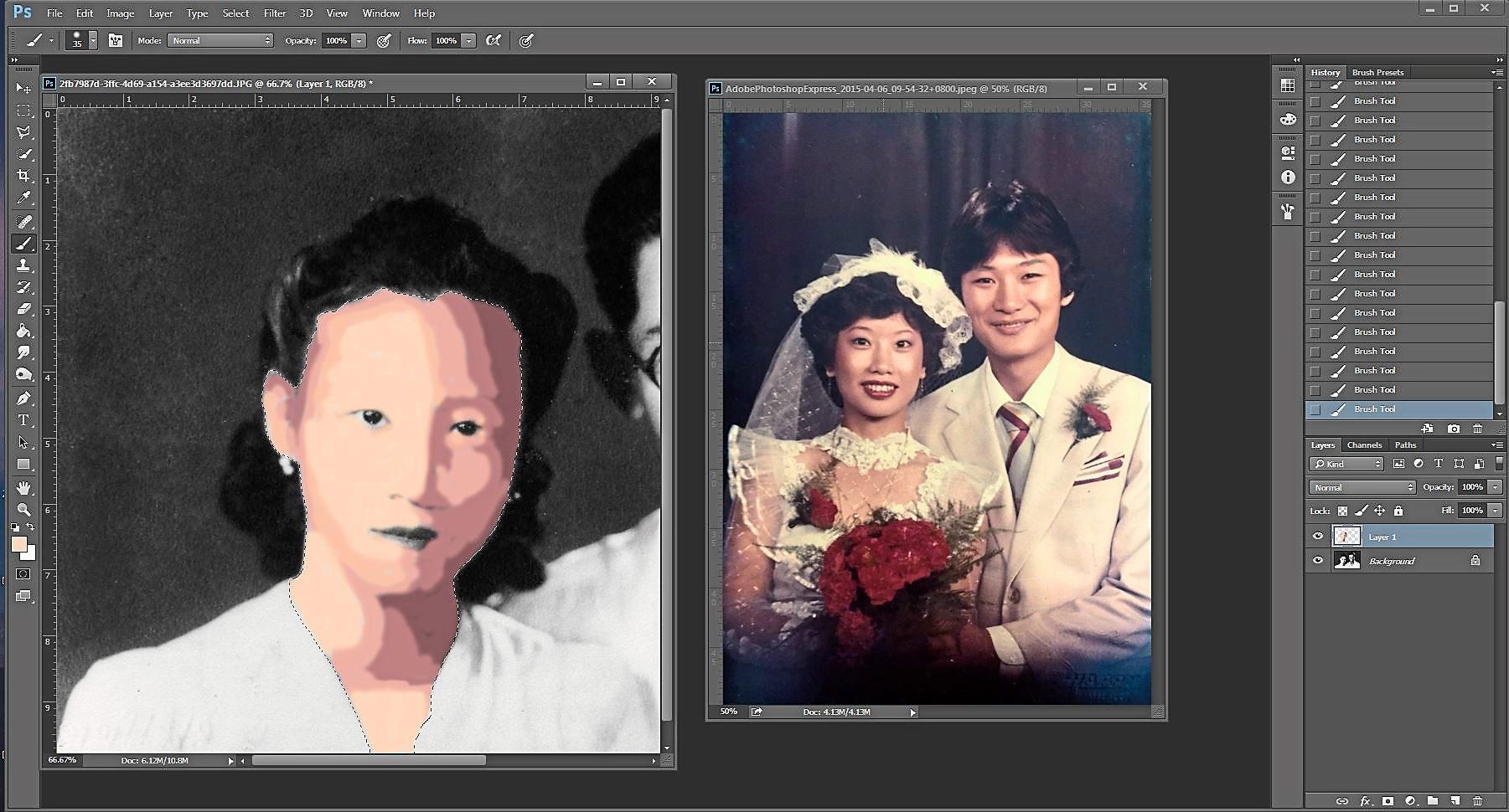 STEP 1: Using the colour photo on the right, we sampled colours from the image and applied it onto a new layer in the monochrome image on the left, applying darker colours in the shadow areas and lighter colours in the brighter areas