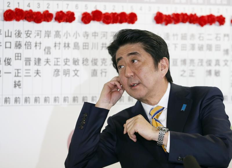 Prime minister Abe strategy to end 15 years of deflation and drive sustainable growth has had only modest success so far, mostly driving the stock market higher and boosting profits of exporters on the back of a weak yen - EPA Photo.