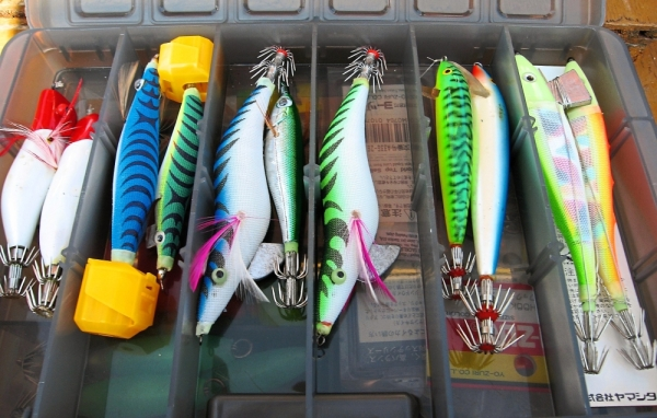 The many lures for catching squid.