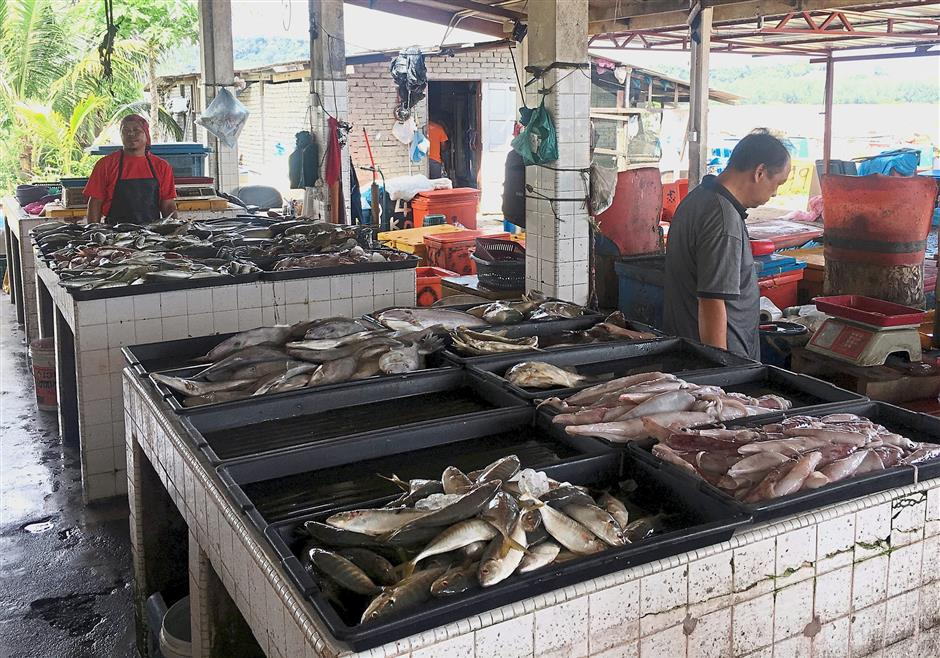 Fresh catch of the day at the Kemaman fishing village market.