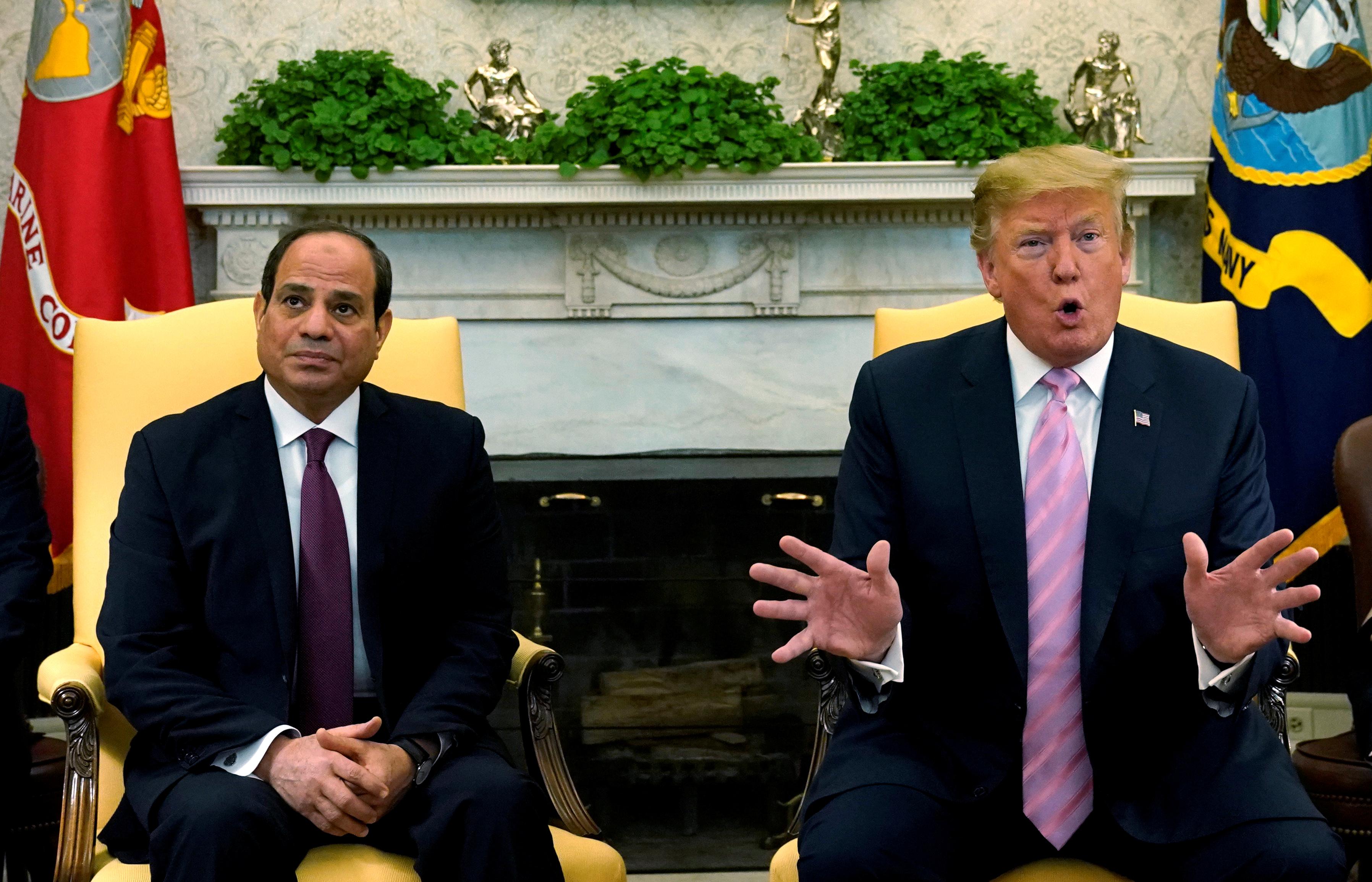 FILE PHOTO: U.S. President Donald Trump meets with Egypt President Abdel Fattah al-Sisi at the White House in Washington, U.S., April 9, 2019.   REUTERS/Kevin Lamarque/File Photo