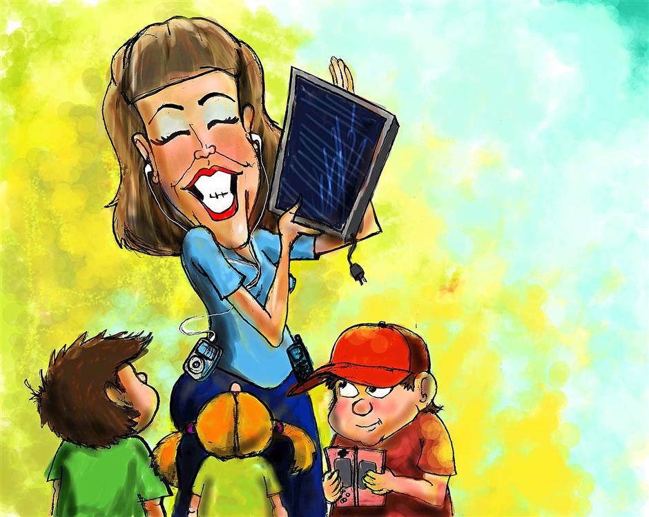 300 dpi Chris Strach color illustration of kids surrounding a technology-happy mom wearing iPod and cell phone and holding up an unplugged monitor. San Jose Mercury News 2008<p>mother techie illustration technology kids students, krteducation education, krtteacher teacher, learning, pupil, student, teaching children woman women ipod cellphone, krtnational national, krtscience science, krtscitech, krtworld world, SCI, EDU krt, mctillustration, krtdiversity diversity, woman women, youth, 13016000, 13000000 krttechelectronics electronics, krttechnology technology, 05010001, 05010002,  2008, krt2008, sj contributed coddington strach mct mct2008